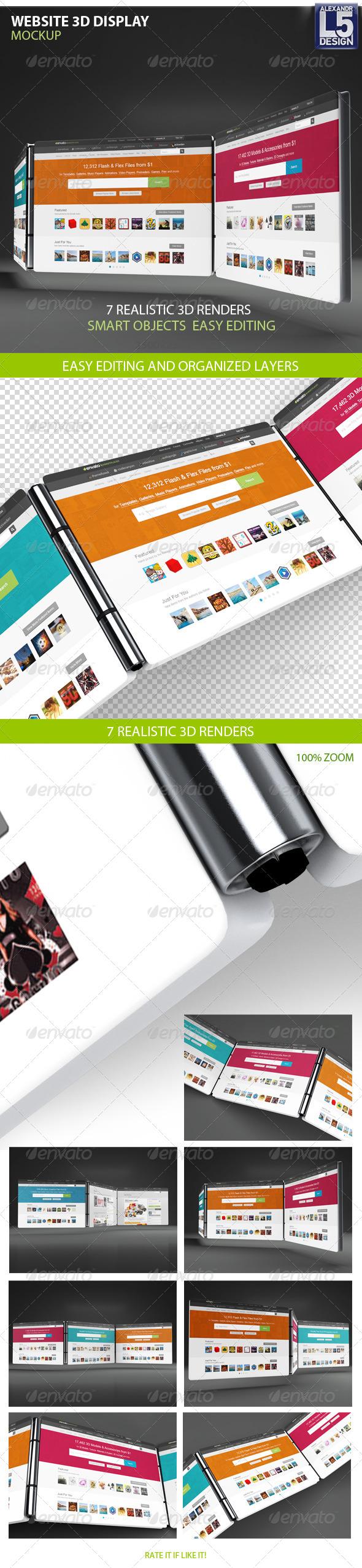 Website 3d Display Mock-Up - Displays Product Mock-Ups