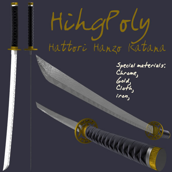 High Poly Katana - 3DOcean Item for Sale