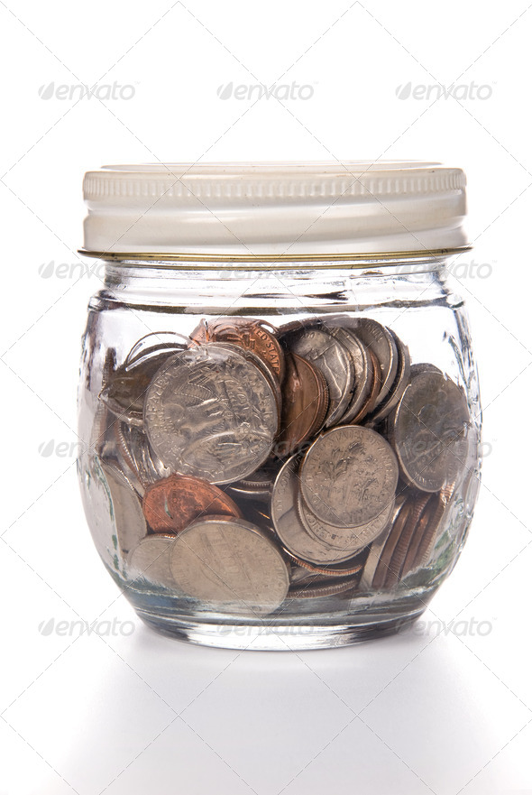 Jar of coins - Stock Photo - Images