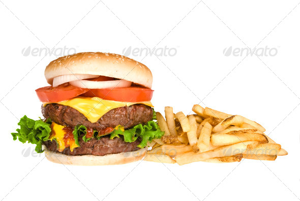 Hamburger and french fries - Stock Photo - Images