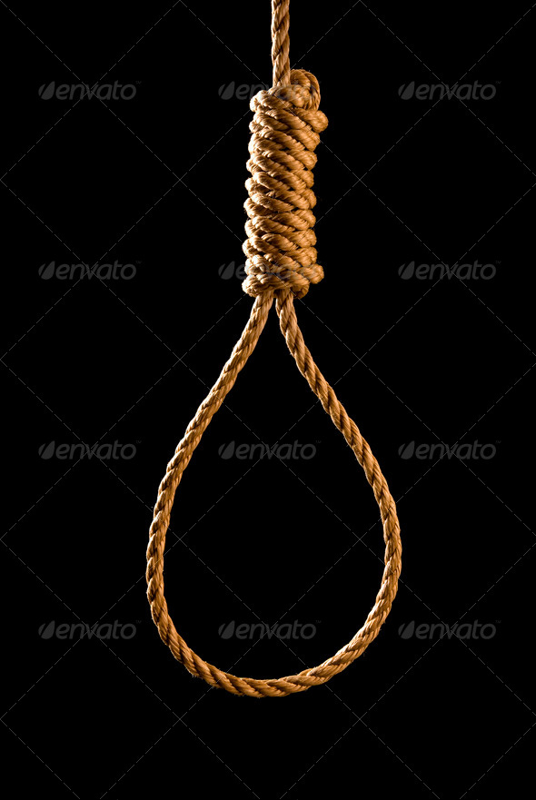 Noose isolated on black - Stock Photo - Images
