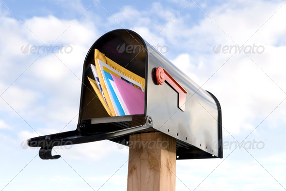 Mailbox and mail - Stock Photo - Images
