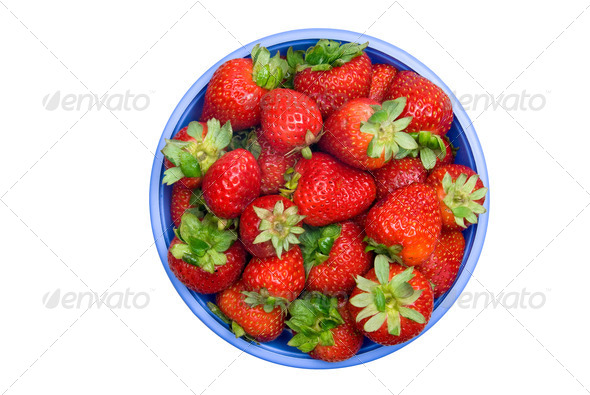 Fresh bowl of strawberries - Stock Photo - Images