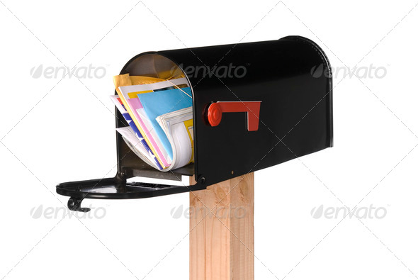 Isolated open mail box with mail - Stock Photo - Images