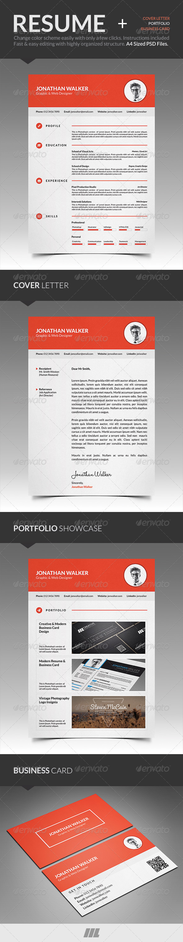Clean Resume With Business Card - Resumes Stationery