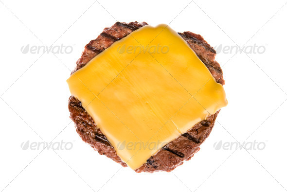Hamburger patty with cheese - Stock Photo - Images