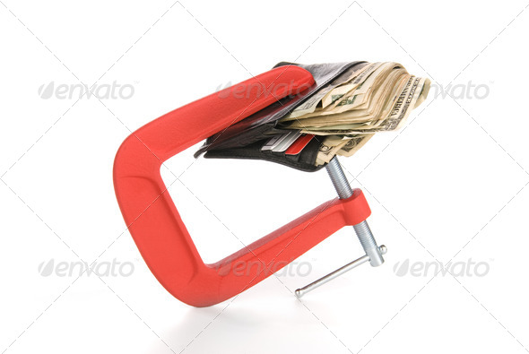 Wallet clamped shut - Stock Photo - Images