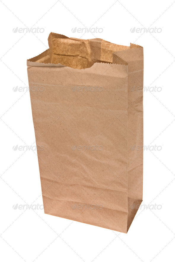 Open paper lunch bag - Stock Photo - Images