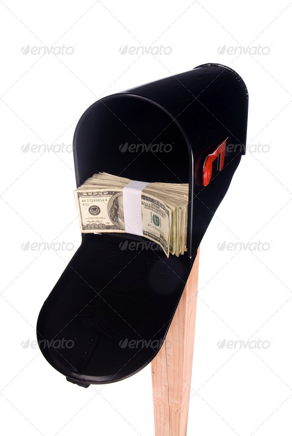 Isolated mailbox with money - Stock Photo - Images