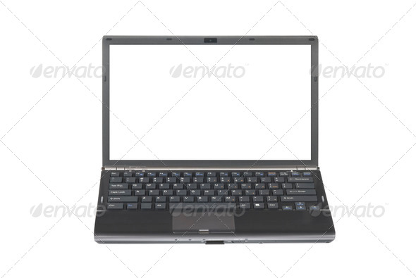 Laptop with blank screen - Stock Photo - Images