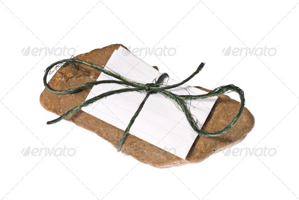 Note tied to rock - Stock Photo - Images