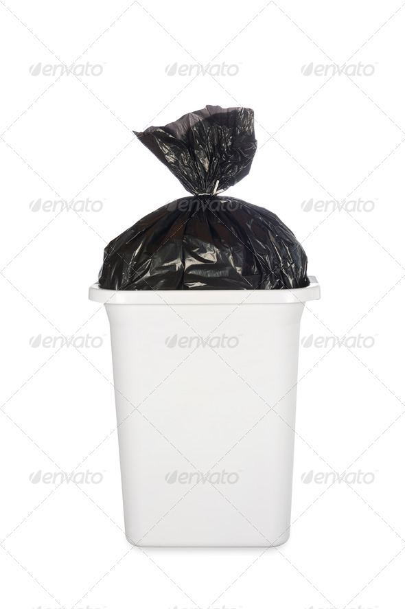 Bag of garbage in trash can - Stock Photo - Images