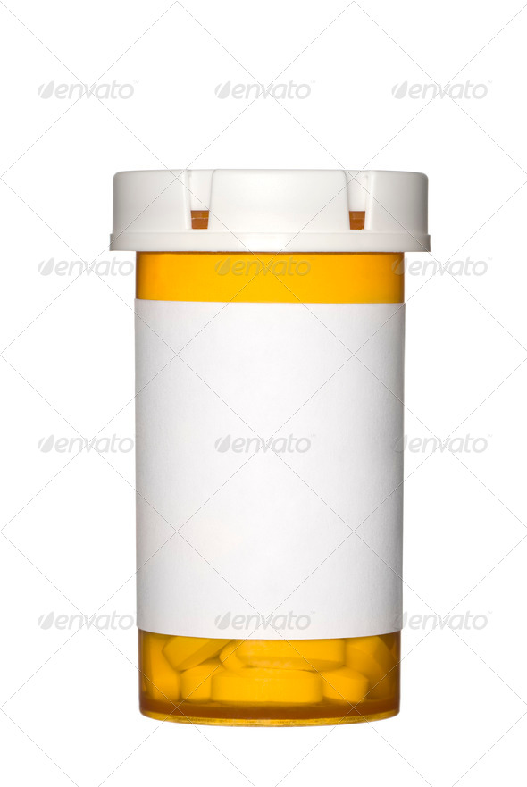 Pill bottle on white background - Stock Photo - Images