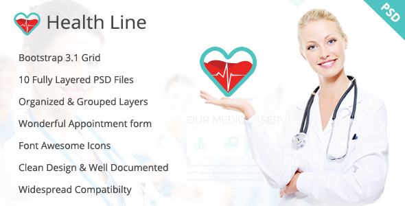 Health Line - Medic PSD Template - Health & Beauty Retail