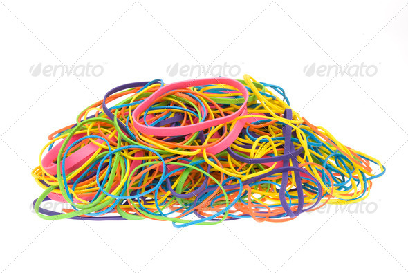 Pile of colored rubber bands - Stock Photo - Images