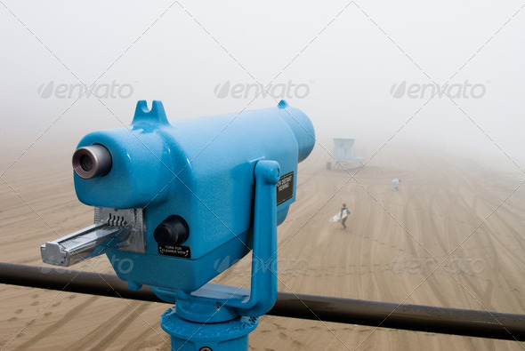 Telescope on pier - Stock Photo - Images