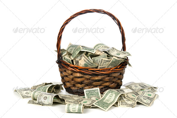Basket of cash - Stock Photo - Images