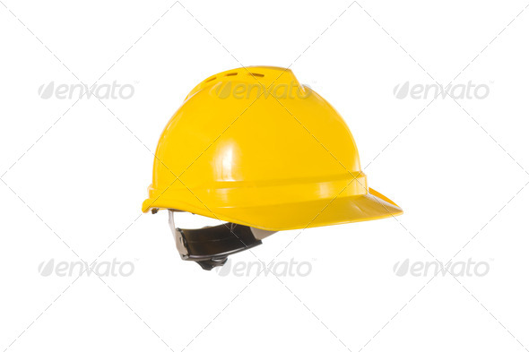 Yellow hardhat isolated on white - Stock Photo - Images