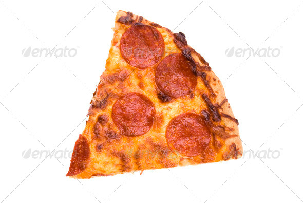 Slice of pepperoni pizza - Stock Photo - Images