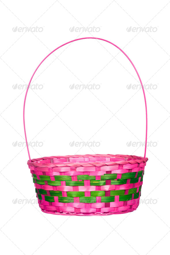 Easter basket isolated on white - Stock Photo - Images