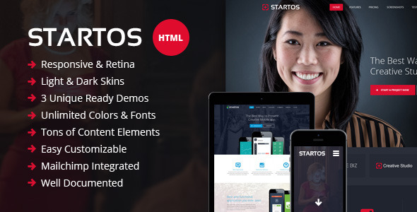Startos – Responsive HTML5 Landing Page