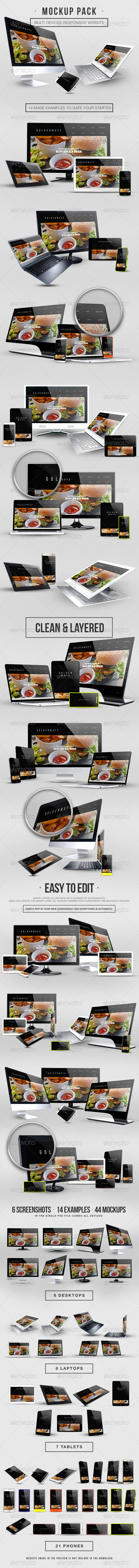 Multi Devices Responsive Website Mockup Pack - Website Displays