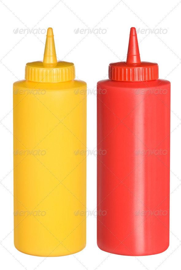 Ketchup and mustard squeeze bottles - Stock Photo - Images