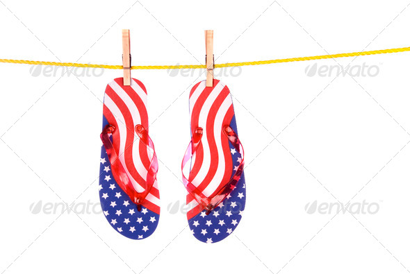 Fourth of July flip flops - Stock Photo - Images