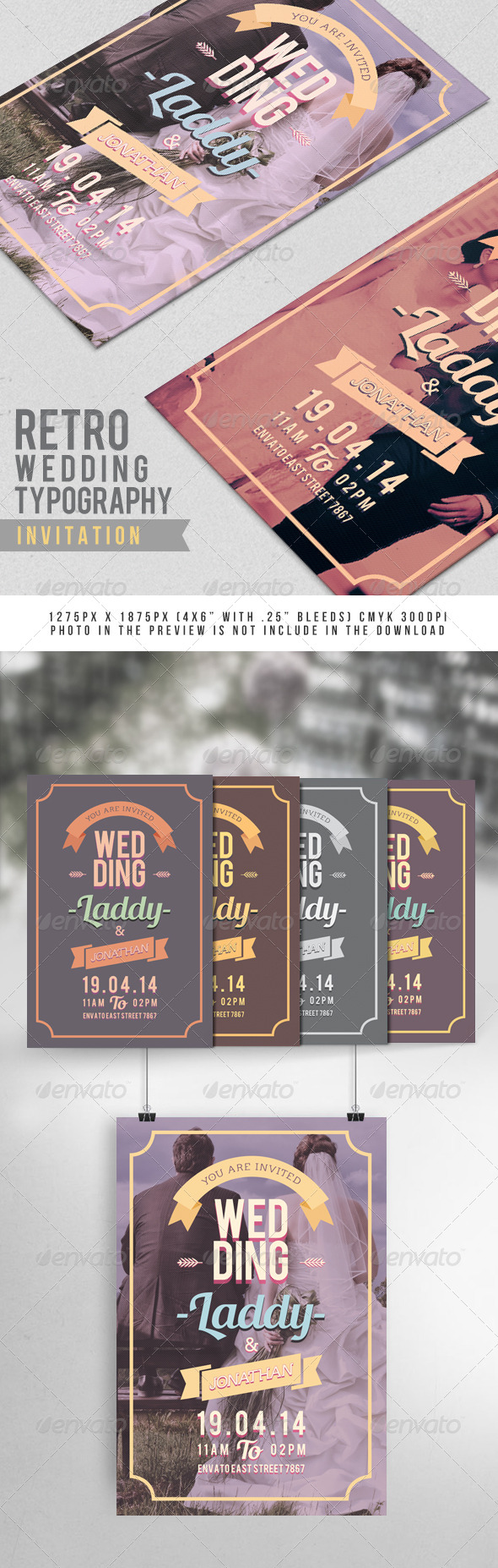 Retro Wedding Typography Invitation