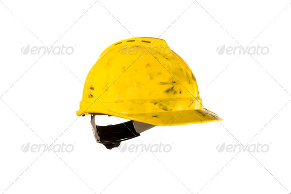 Dirty hardhat isolated on white - Stock Photo - Images