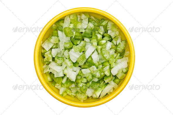 Bowl of diced onions and bell peppers - Stock Photo - Images