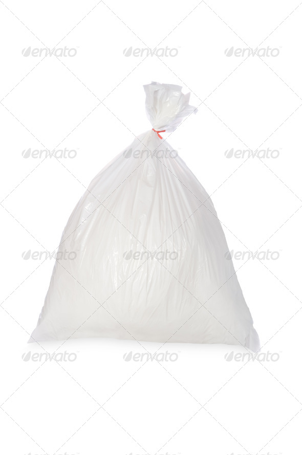 White garbage bag - Stock Photo - Images
