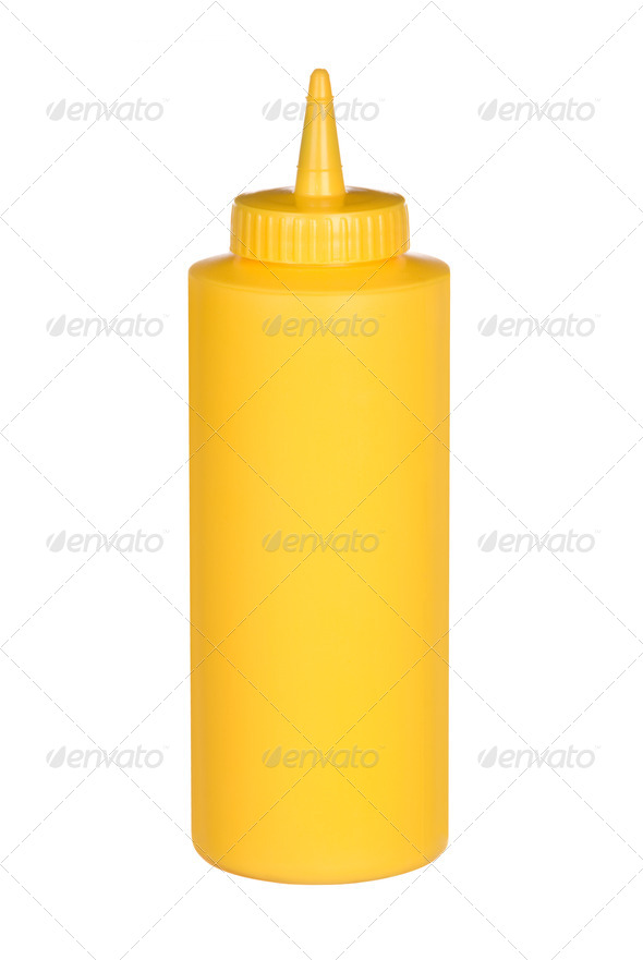 Squeeze bottle of mustard - Stock Photo - Images