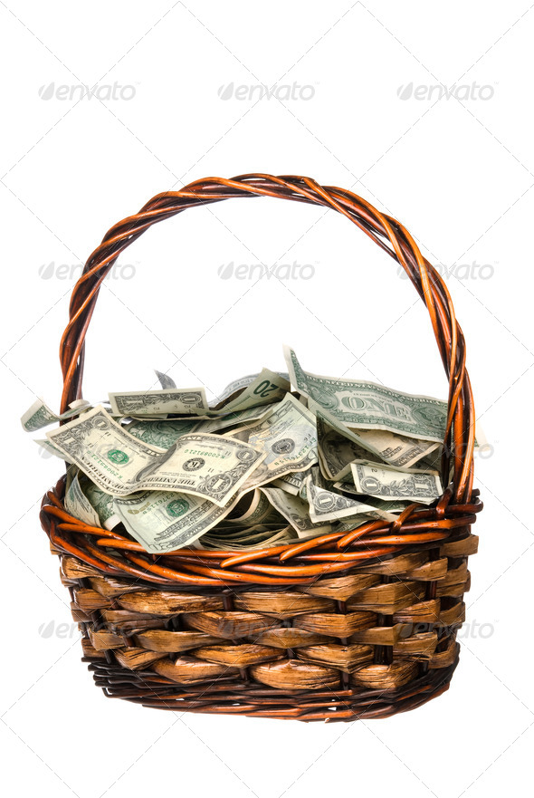 Basket full of cash - Stock Photo - Images