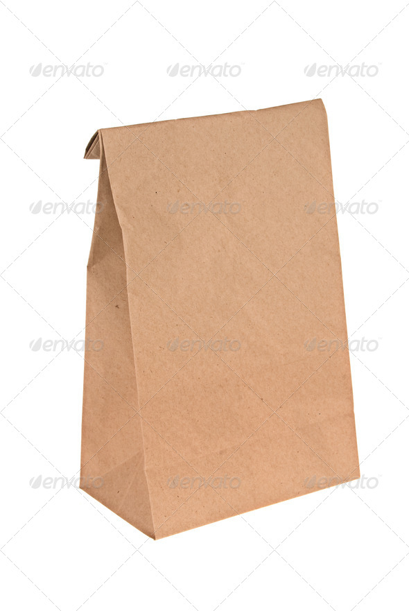 Brown paper lunch bag - Stock Photo - Images
