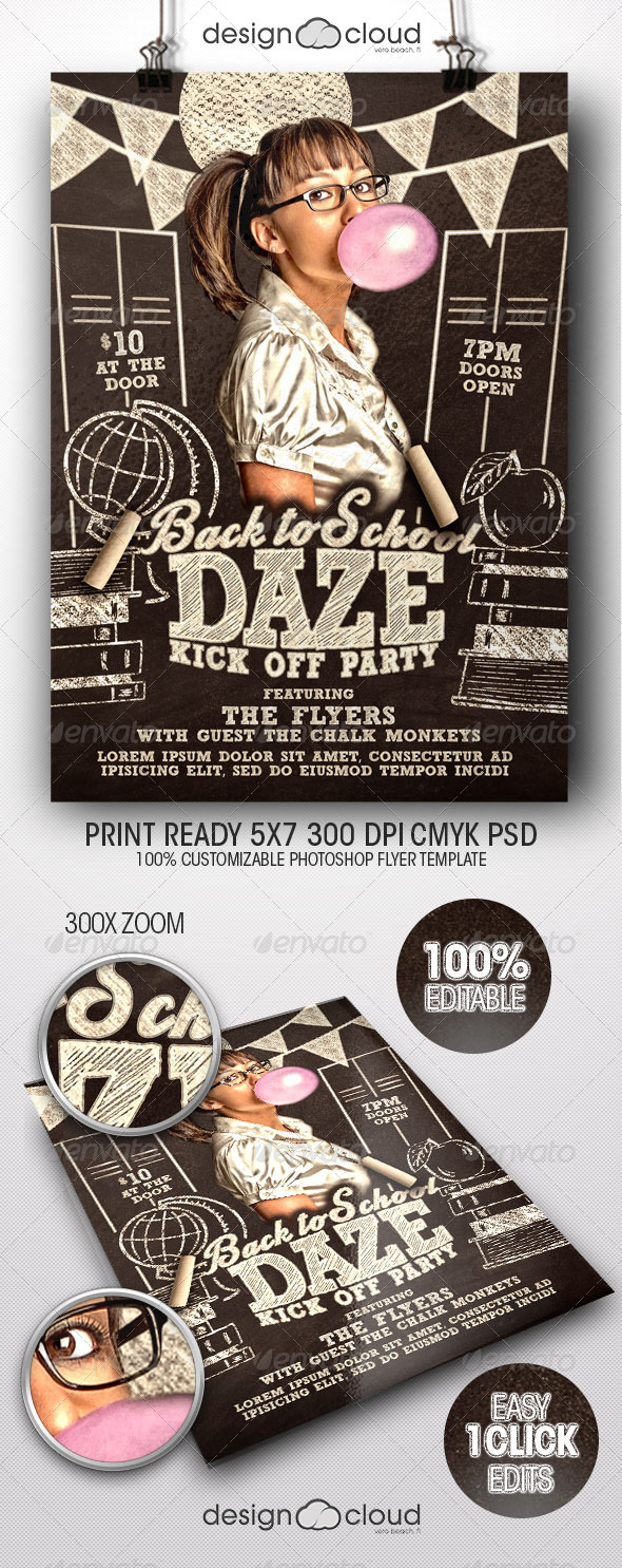 Back to School Daze Party Flyer Template - Clubs & Parties Events
