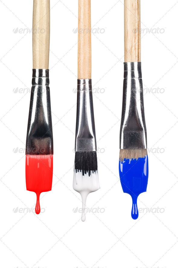 Dripping paint brushes - Stock Photo - Images