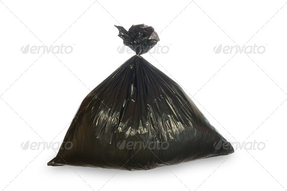 Black trash bag isolated on white - Stock Photo - Images