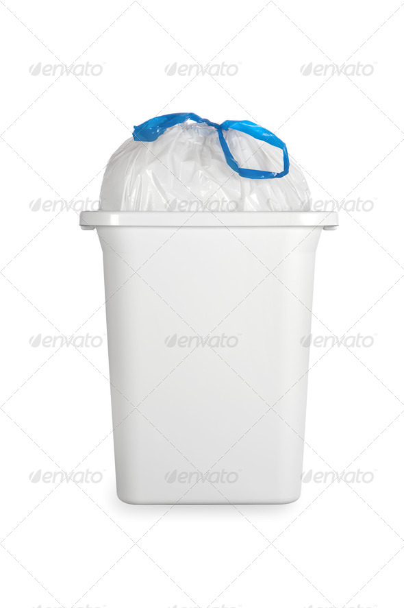 White trash can with plastic garbage bag - Stock Photo - Images