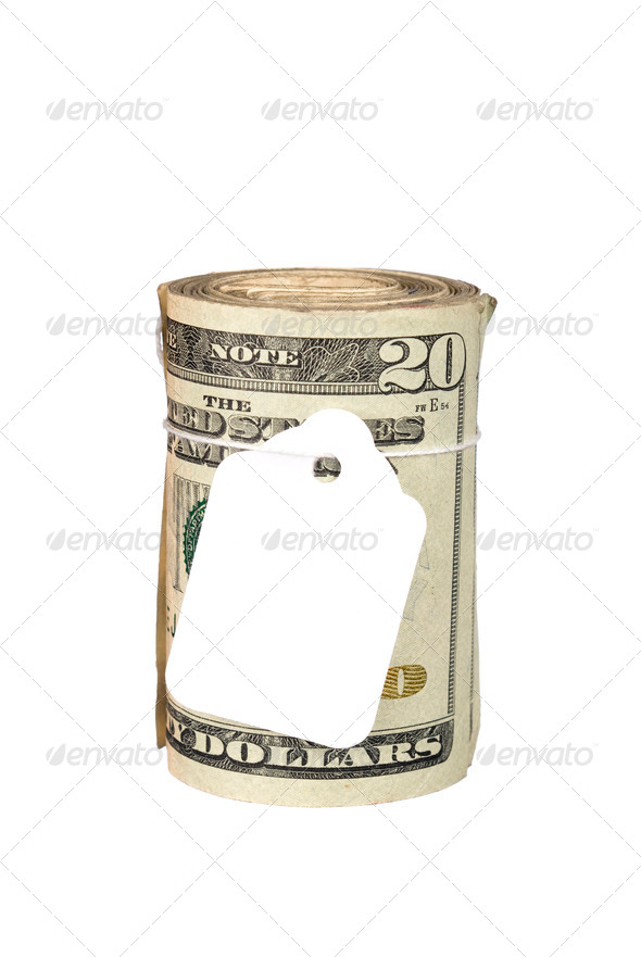 Roll of money with blank price tag - Stock Photo - Images