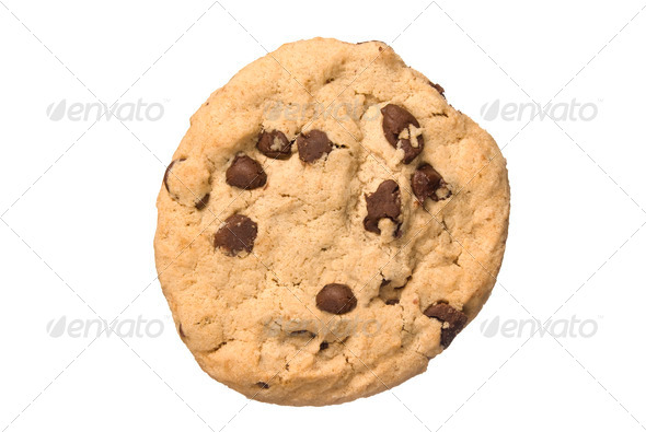 Chocolate chip cookie isolated on white - Stock Photo - Images