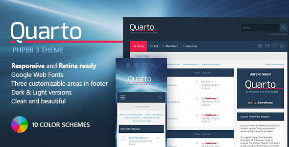 Download Free Quarto —phpBB3 Responsive & Retina Ready Theme