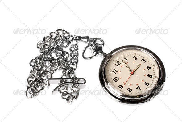 Pocket watch on white background - Stock Photo - Images