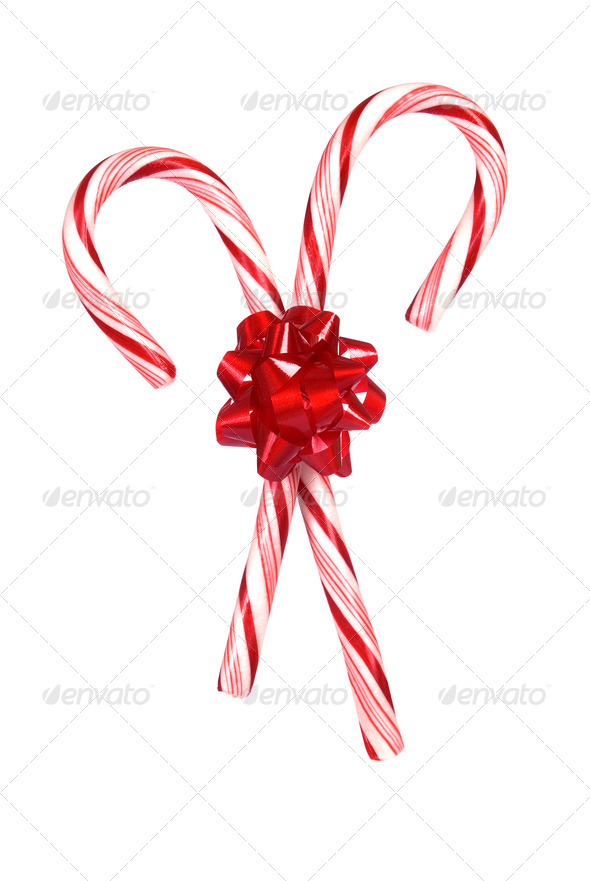 Candy canes with bow - Stock Photo - Images