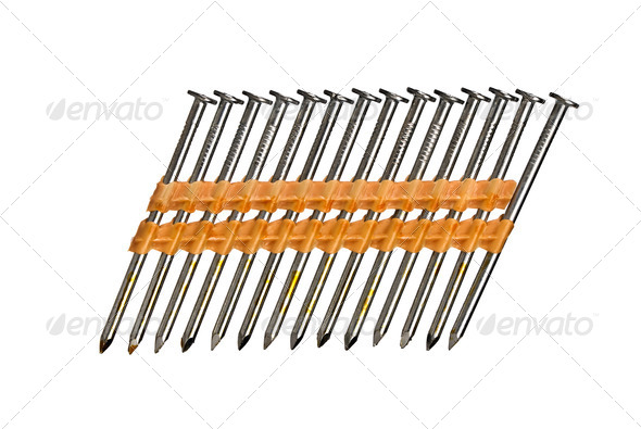 Row of nails isolated on white - Stock Photo - Images