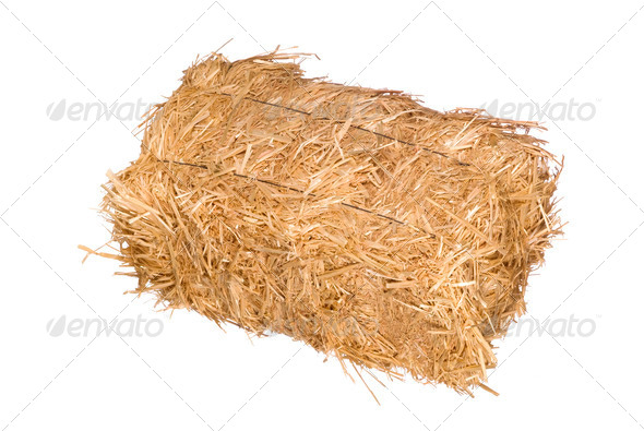 Bale of hay isolated on white - Stock Photo - Images