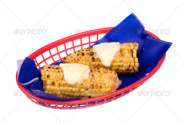 Corn on the cob with melted butter - Stock Photo - Images