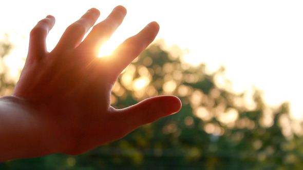 Kid Looking To The Sun Through Fingers By Doodool Videohive