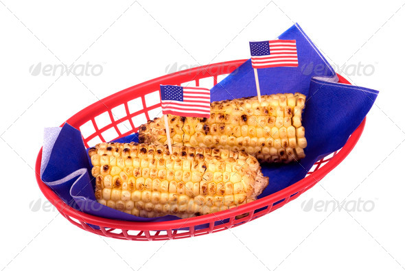 July fourth corn on the cob - Stock Photo - Images