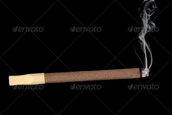Lit cigar isolated on black - Stock Photo - Images